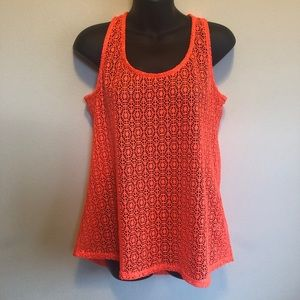 Annabelle Neon Orange Crochet Lace Tank